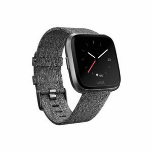 Fitbit Versa Special Edition Watch - Black Aluminum Case w/ Charcoal Woven Band