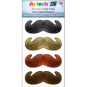 Party Glass Marker Kit - 4 Mustaches Full Colour on reusable white cling