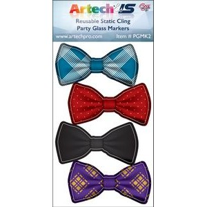 Party Glass Marker Kit - 4 Bow Ties Full Colour on reusable white cling