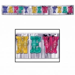 Glittered Letters Metallic Happy New Year Banners