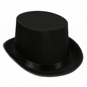 Black Satin Sleek Top Hats