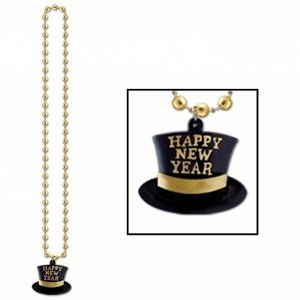 "33"" Gold Beads w/H.N.Y. Top Hat Medallion"