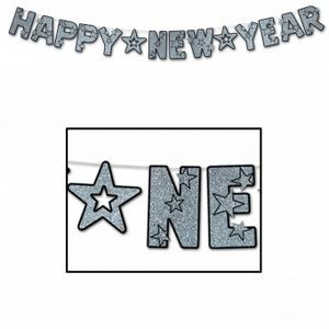 Glittered Happy New Year Streamers - Black & Silver