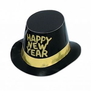 Foil Glittered New Year Hi-hats - Gold Band