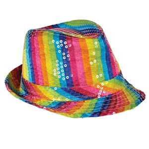 Sequined Rainbow Fedora Hat