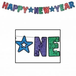 Glittered Happy New Year Streamers - Multi-color