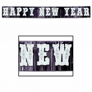 White on Black Metallic Happy New Year Banners