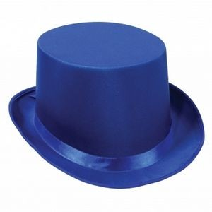 Blue Satin Sleek Top Hats