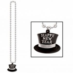 "33"" Silver Beads w/H.N.Y. Top Hat Medallion"