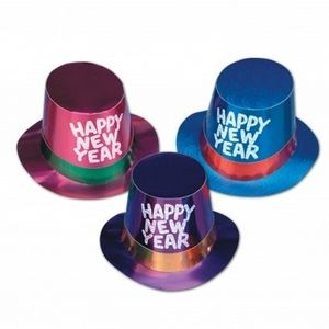 Foil Glittered Silver New Year Hi-hats (Assorted Colors)