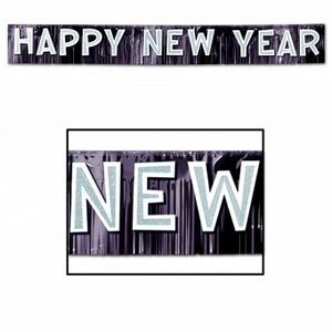 Metallic Happy New Year Banners - White & Black
