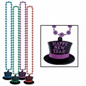 "33"" Beads w/H.N.Y. Top Hat Medallion"
