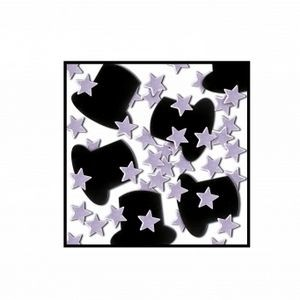 Top Hats & Mini Stars Table Confetti - Black & Silver Stars