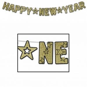 Glittered Happy New Year Streamers - Black & Gold